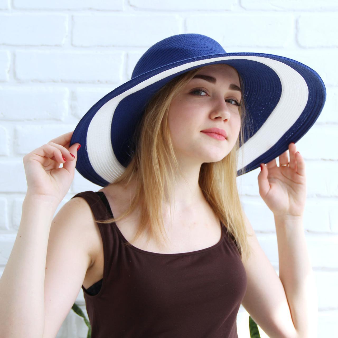 Женская летняя шляпа с большими полями, синий