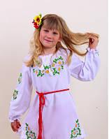 Вышитое детское платье  с ромашками , фото 1