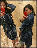 Стильная женская рубашка плотный джинс