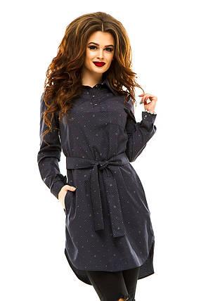 Платье- рубашка 274 темно-синяя принт, фото 2