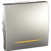 Выключатель кнопочный с подсветкой Алюминий Unica Schneider, MGU3.201.30S