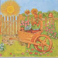 Салфетки бумажные с рисунком   тачка с цветами  Польша 33*33см