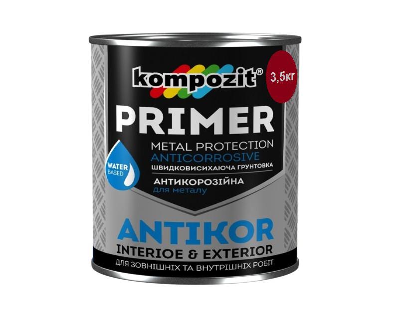 Грунт акриловый KOMPOZIT ANTIKOR антикоррозионный красно-коричневый 3,5кг