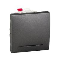 Выключатель кнопочный проходной с подсветкой Графит Unica Schneider, MGU3.203.12S