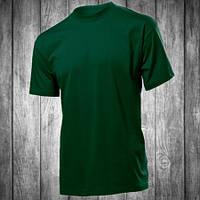 Футболка мужская темно зеленая с круглым вырезом