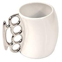 Чашка кастет белая с серебряной ручкой