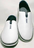 Туфли мокасины летние мужские, белые, кожаные Luciano Bellini, фото 1