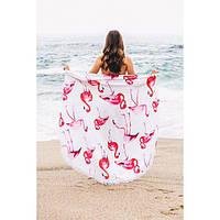 8cf1e224a16 Пляжный коврик   Фламинго с бахромой 150 см   Пляжная подстилка   Покрывало    опт