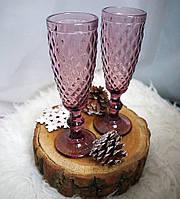 """Бокалы из цветного стекла для шампанского """"Кубок"""" аметист розовый. Цветные бокалы ромб мелкий , фото 1"""