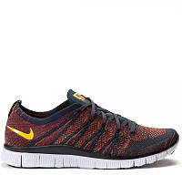 Кроссовки Найк Nike Free Flyknit NSW Anthracite-Laser Orange (Арт.0823)