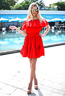 7d30d6c0fbd Женское легкое платье крестьянка короткое открытые плечи с воланами ...