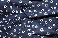 Ткань джинс  стрейч синий в белый цветочек №6