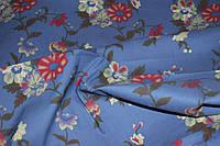 Ткань джинс голубой №4 цветы крупные