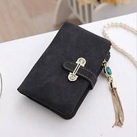 Жіночий гаманець з нубука CRYSTAL маленький з підвіскою чорний, фото 1