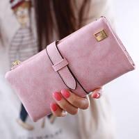 Женский кошелек из нубука FRIEND большой розовый, фото 1