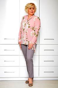 Блуза розовая шелк цветы- Модель 1633-2