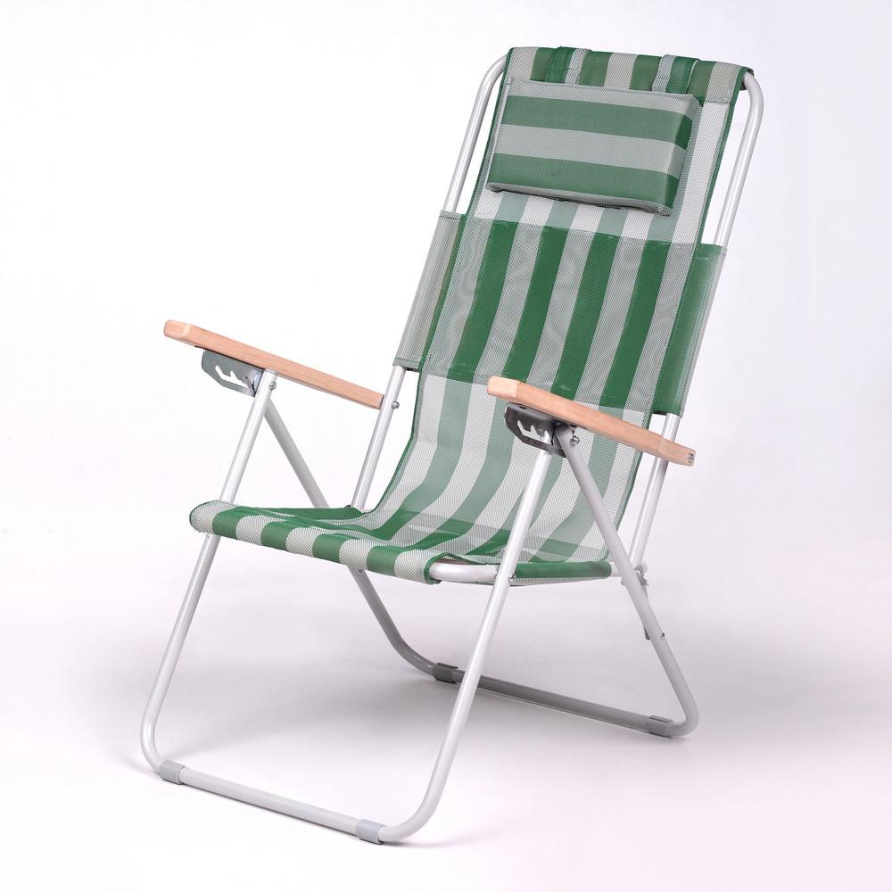 """Садове крісло шезлонг """"Ясен"""" d20 мм (текстилен біло-зелений) для відпочинку"""