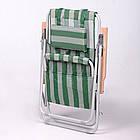 """Садове крісло шезлонг """"Ясен"""" d20 мм (текстилен біло-зелений) для відпочинку, фото 2"""