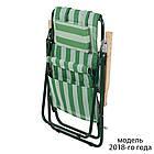 """Садове крісло шезлонг """"Ясен"""" d20 мм (текстилен біло-зелений) для відпочинку, фото 3"""