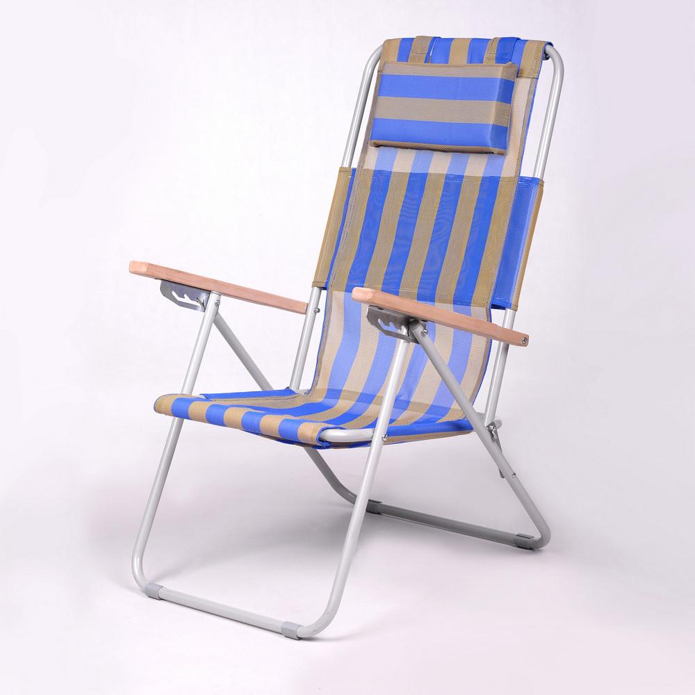 """Садове крісло шезлонг """"Ясен"""" d20 мм (текстилен синьо-жовтий) для відпочинку"""