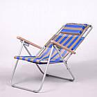 """Садове крісло шезлонг """"Ясен"""" d20 мм (текстилен синьо-жовтий) для відпочинку, фото 2"""