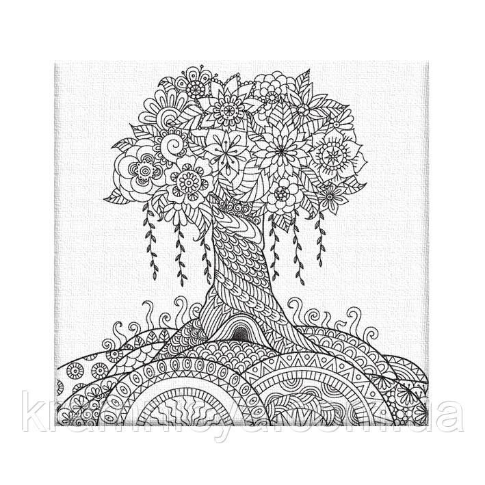 Раскраска-антистресс 'Дерево желаний', на холсте 20х20 ...