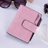 Женский кошелек под нубук на кнопке маленький розовый, фото 1