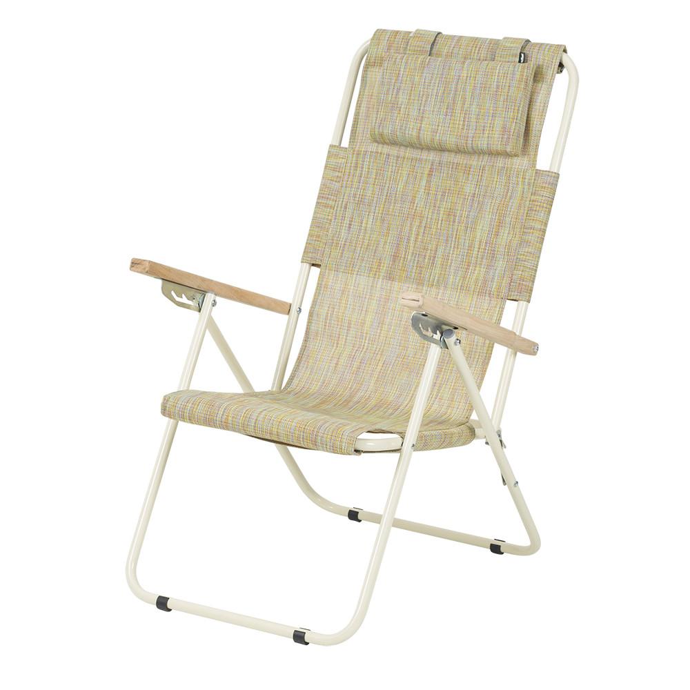 """Садове крісло шезлонг """"Ясен"""" d20 мм складне (текстилен помаранчевий)"""