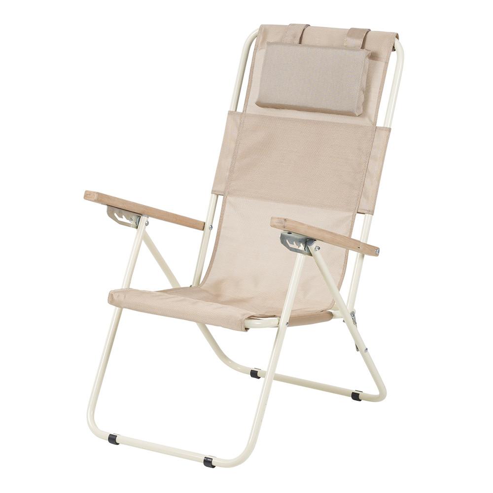"""Садовое кресло шезлонг """"Ясень"""" d20 мм складное (текстилен золотистый) (садове крісло складне)"""
