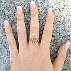 Кольцо Женское Ажурное под Розовое Золото 14К с Золотистыми Фианитами Размеры 17, 18, фото 4
