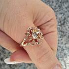 Кольцо Женское Ажурное под Розовое Золото 14К с Золотистыми Фианитами Размеры 17, 18, фото 7
