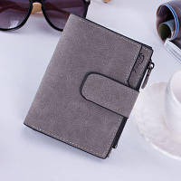 Женский кошелек под нубук на кнопке маленький серый, фото 1