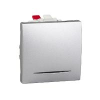 Выключатель кнопочный проходной с подсветкой Алюминий Unica Schneider, MGU3.203.30S