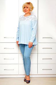 Блуза голубая софт - Модель 1634-2