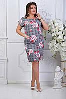 Легкое платье с коротким рукавом увеличенных  размеров 50-56  , фото 1