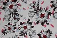Ткань костюмка  цветы на белом фоне