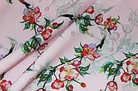 Ткань костюмка барби принт мелкие цветочки 3Д