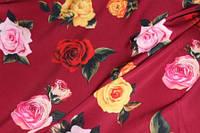 Ткань костюмка барби принт розы бордо