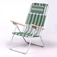 """Садовое кресло шезлонг """"Ясень"""" d20 мм (текстилен бело-зелёный) для отдыха"""