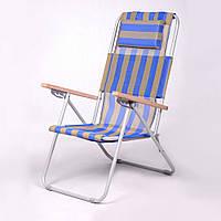 """Садовое кресло шезлонг """"Ясень"""" d20 мм (текстилен сине-жёлтый) для отдыха"""