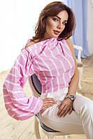Стильная блузка  с рукавами фонарик в полоску (голубая и розовая), фото 1