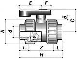 Шаровый кран BVD10 d.32 ПВХ 2 х-ходовой, фото 2