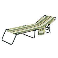 """Раскладушка """"Диагональ"""" d22 мм текстилен зеленая полоса (3 положения спинки) (розкладачка)"""