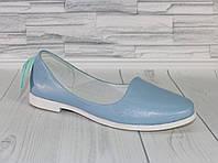 Балетки голубые с перламутром. Натуральная кожа. 1779, фото 1