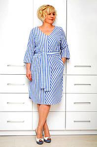 Платье полоска лен - Модель 1646