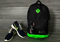 Стильный городской спортивный рюкзак Nike, цвет черный с салатовым