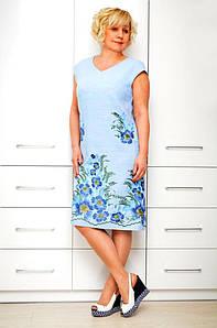 Платье голубое с вышивкой - Модель 1647