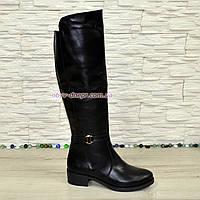 Ботфорты черные женские кожаные зимние на невысоком каблуке. 41 размер