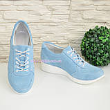Стильные замшевые туфли-кроссовки женские на шнуровке, цвет голубой, фото 2