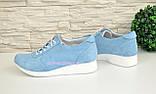 Стильные замшевые туфли-кроссовки женские на шнуровке, цвет голубой, фото 3